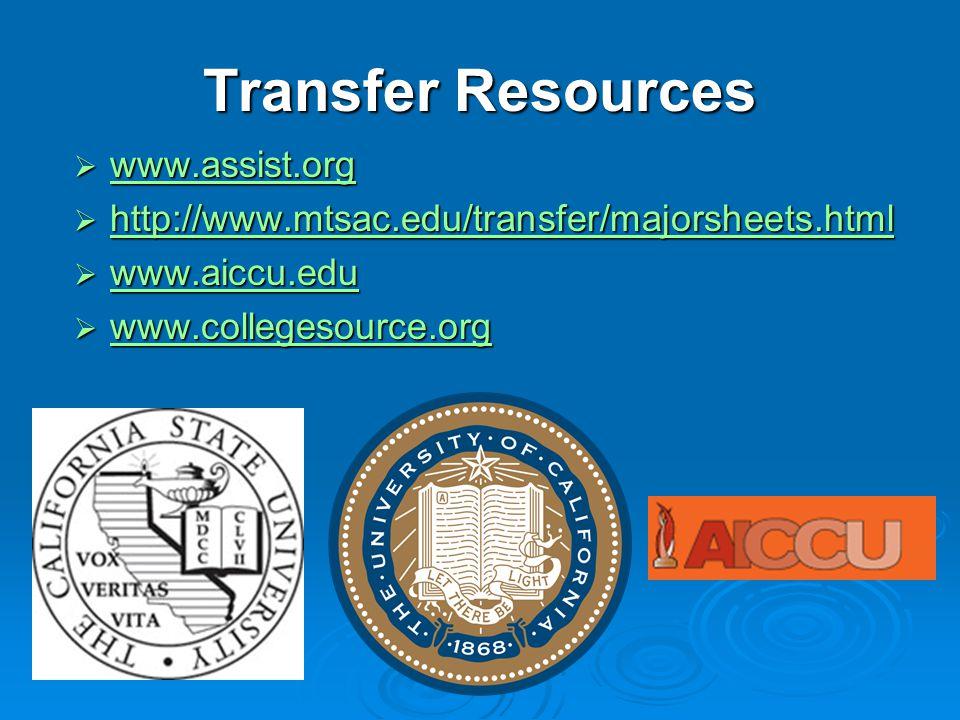 Transfer Resources  www.assist.org www.assist.org  http://www.mtsac.edu/transfer/majorsheets.html http://www.mtsac.edu/transfer/majorsheets.html  w