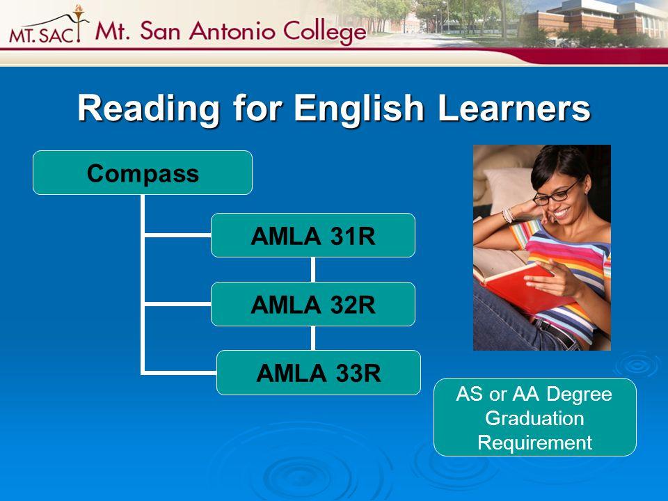 Reading for English Learners Compass AMLA 31R AMLA 32R AMLA 33R AS or AA Degree Graduation Requirement