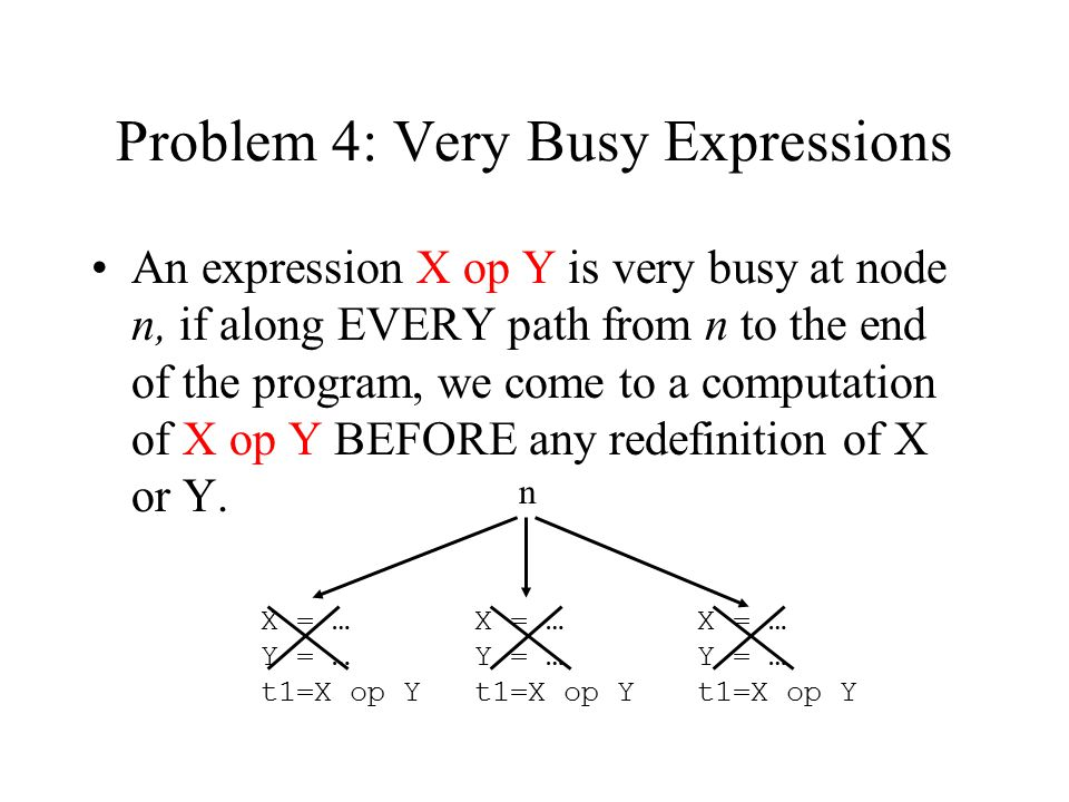 Problem 4: Very Busy Expressions An expression X op Y is very busy at node n, if along EVERY path from n to the end of the program, we come to a computation of X op Y BEFORE any redefinition of X or Y.