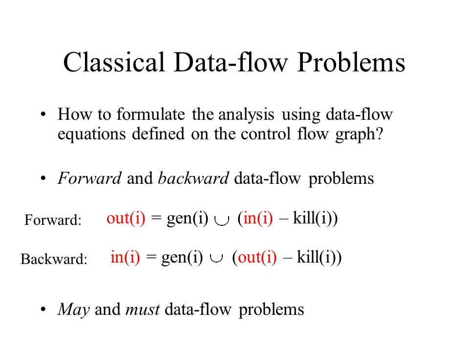 The worklist algorithm for data-flow Analysis: Reaching Definitions change = true; Initialize in RD (m) = Ø for m=2…n in RD (1) = UNDEF while (change) do { change = false; while ( j s.t.