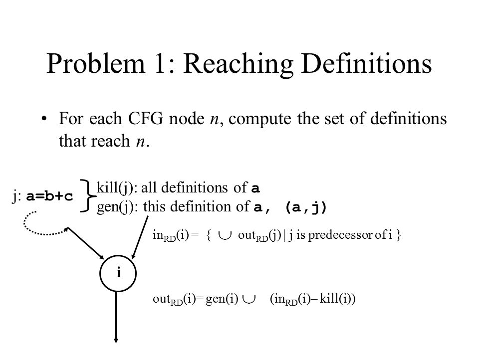 Problem 1: Reaching Definitions For each CFG node n, compute the set of definitions that reach n. i in RD (i) = { out RD (j) | j is predecessor of i }