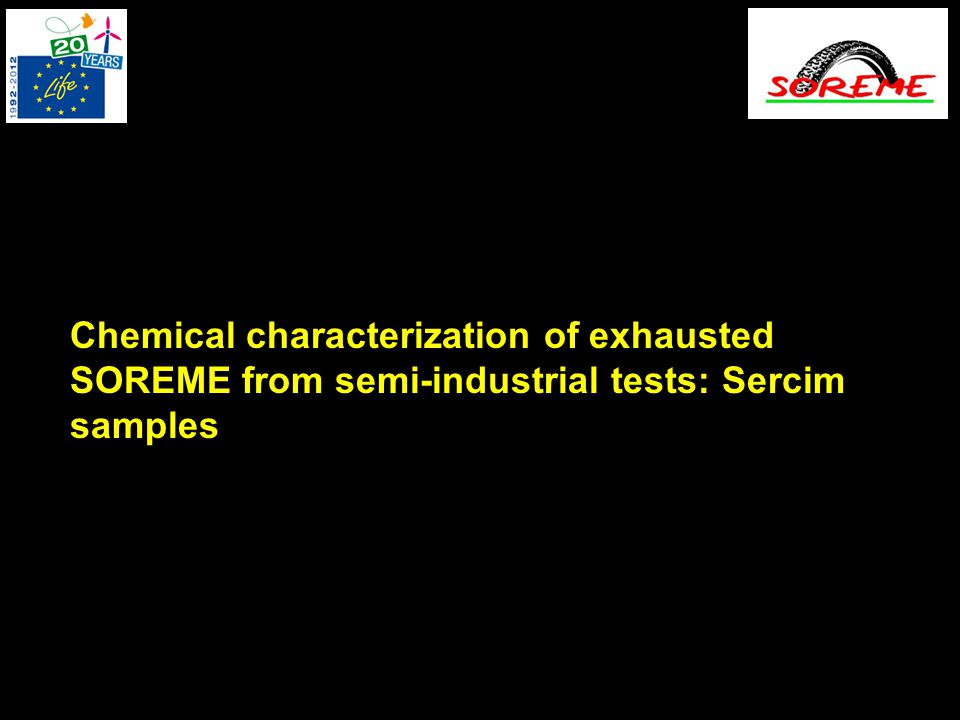 Chemical characterization of exhausted SOREME from semi-industrial tests: Sercim samples
