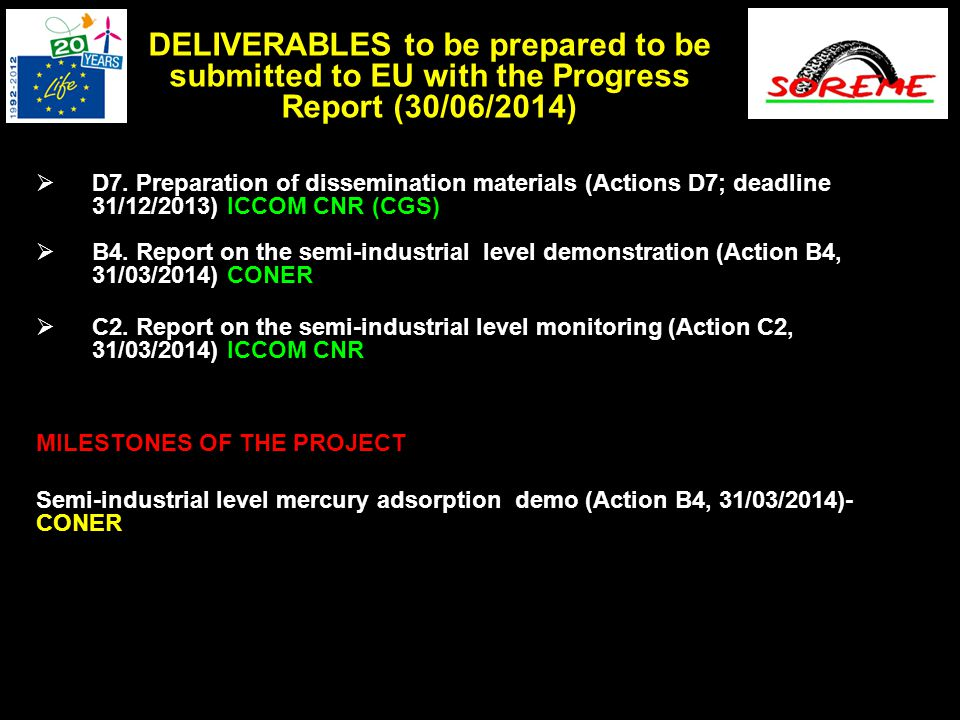  D7. Preparation of dissemination materials (Actions D7; deadline 31/12/2013) ICCOM CNR (CGS)  B4. Report on the semi-industrial level demonstration