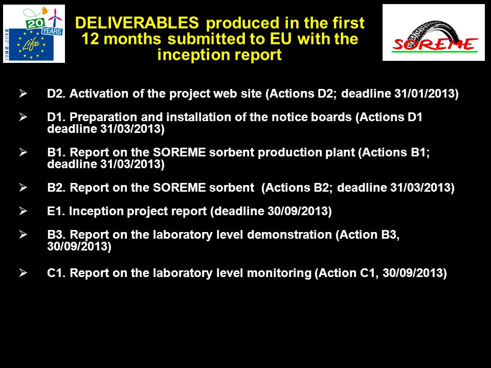  D2. Activation of the project web site (Actions D2; deadline 31/01/2013)  D1. Preparation and installation of the notice boards (Actions D1 deadlin