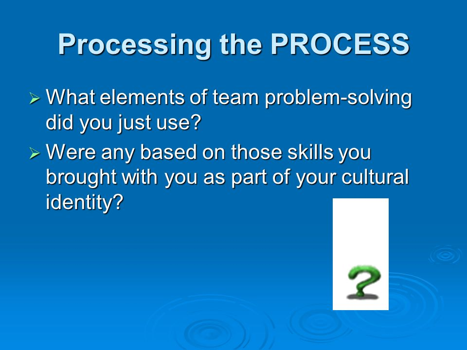 Processing the PROCESS  What elements of team problem-solving did you just use.