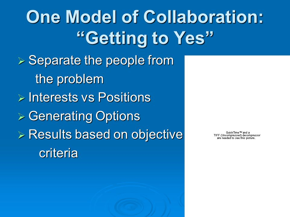 One Model of Collaboration: Getting to Yes  Separate the people from the problem the problem  Interests vs Positions  Generating Options  Results based on objective criteria criteria