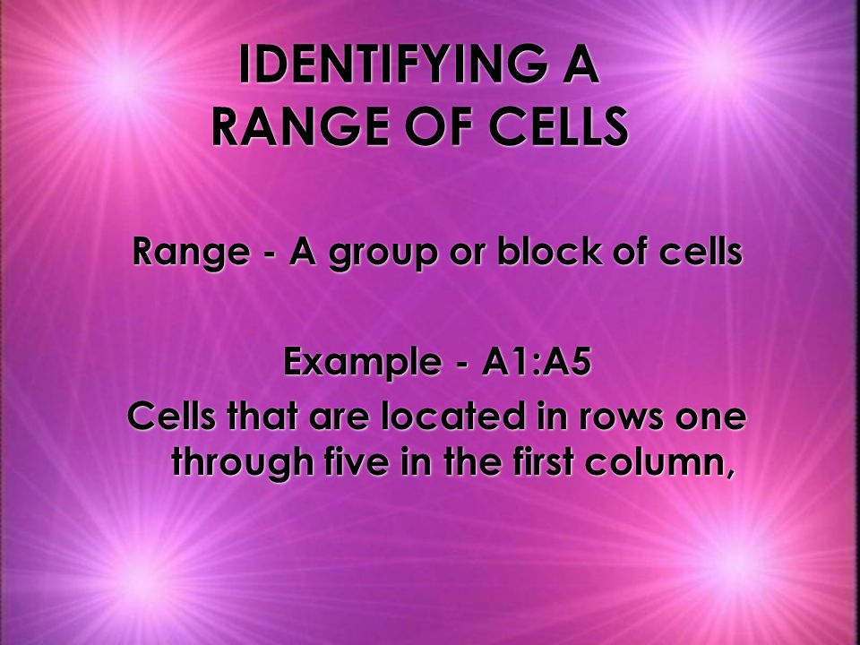 IDENTIFYING A RANGE OF CELLS Range - A group or block of cells Example - A1:A5 Cells that are located in rows one through five in the first column, Range - A group or block of cells Example - A1:A5 Cells that are located in rows one through five in the first column,
