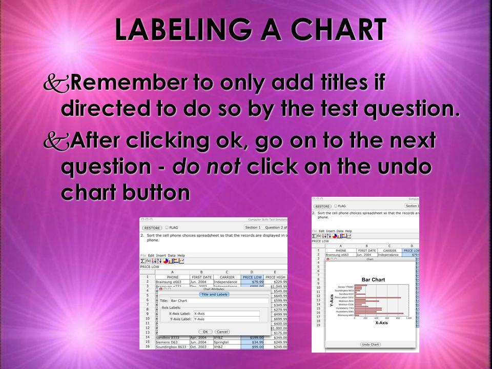 LABELING A CHART k Remember to only add titles if directed to do so by the test question.