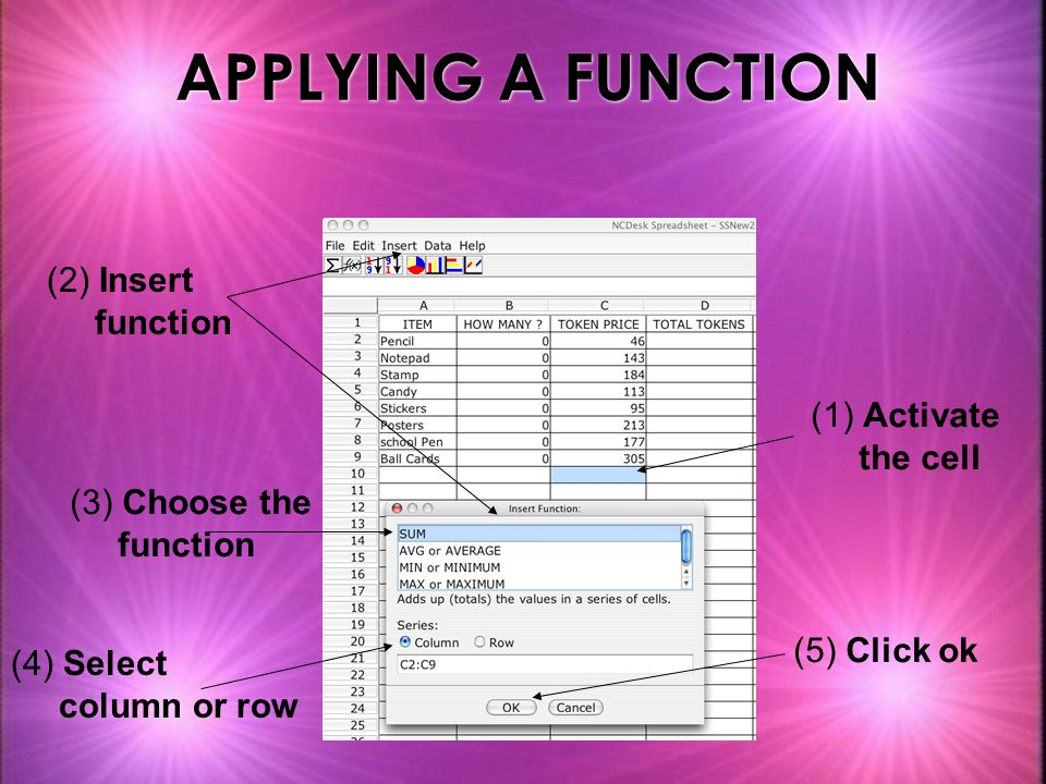 APPLYING A FUNCTION (1) Activate the cell (3) Choose the function (4) Select column or row (5) Click ok (2) Insert function