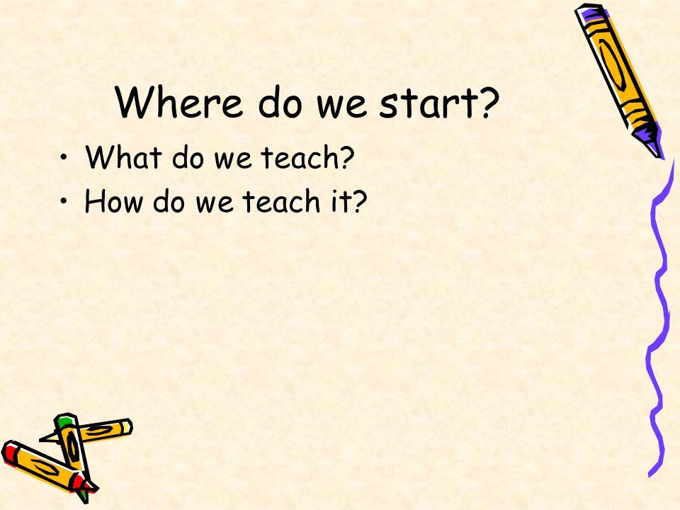 Where do we start? What do we teach? How do we teach it?