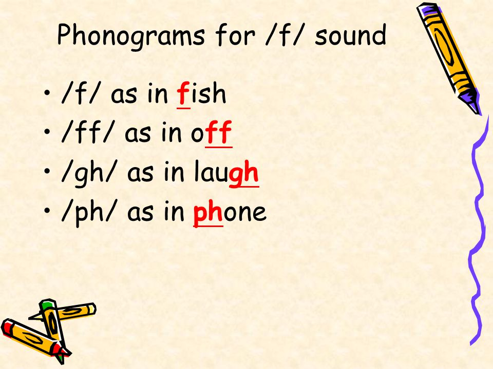 Phonograms for /f/ sound /f/ as in fish /ff/ as in off /gh/ as in laugh /ph/ as in phone
