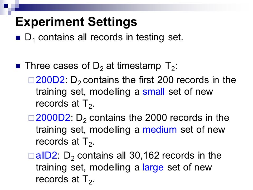 Experiment Settings D 1 contains all records in testing set. Three cases of D 2 at timestamp T 2 :  200D2: D 2 contains the first 200 records in the