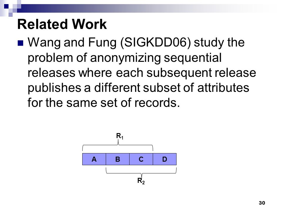 30 Related Work Wang and Fung (SIGKDD06) study the problem of anonymizing sequential releases where each subsequent release publishes a different subs