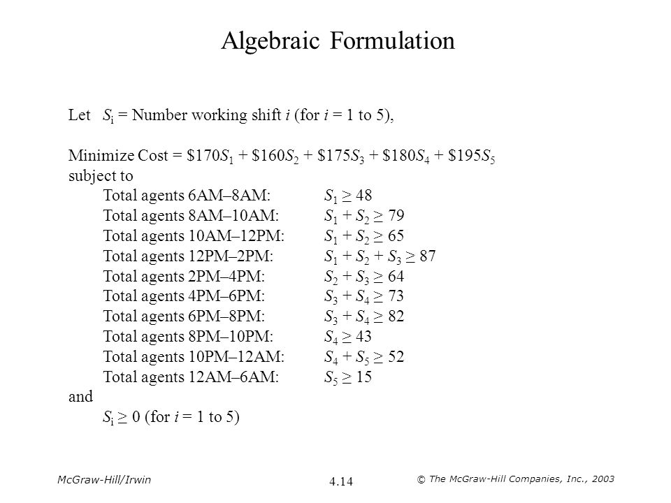 McGraw-Hill/Irwin © The McGraw-Hill Companies, Inc., 2003 4.14 Algebraic Formulation LetS i = Number working shift i (for i = 1 to 5), Minimize Cost =
