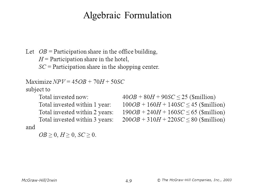 McGraw-Hill/Irwin © The McGraw-Hill Companies, Inc., 2003 4.30 Algebraic Formulation Let x ij = Pounds of material j allocated to product i per week (i = A, B, C; j = 1, 2, 3, 4).