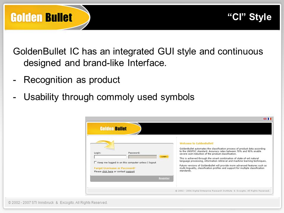 CI Style GoldenBullet IC has an integrated GUI style and continuous designed and brand-like Interface.