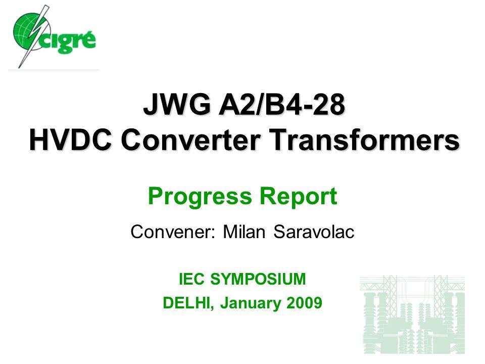 JWG A2/B4-28 Progress Report, January 2009 Contents  Meetings  JWG Members – current status  JWG Report Summary