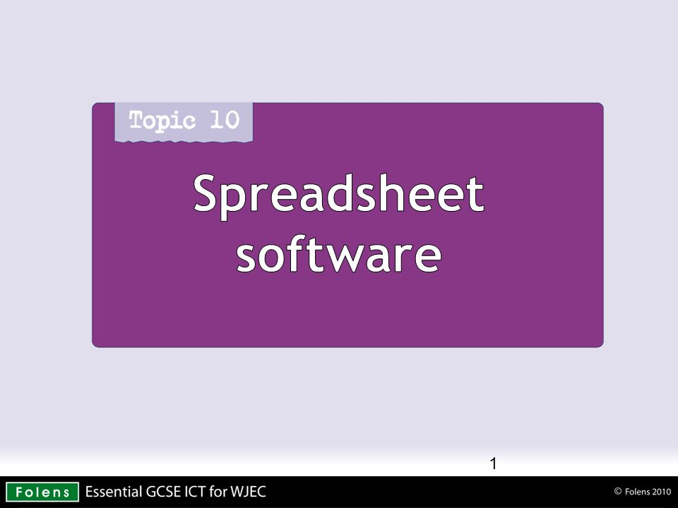 Spreadsheet software 1
