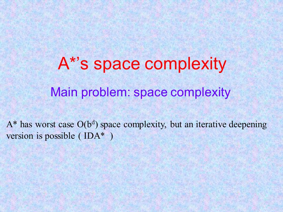 A*'s space complexity Main problem: space complexity A* has worst case O(b d ) space complexity, but an iterative deepening version is possible ( IDA* )