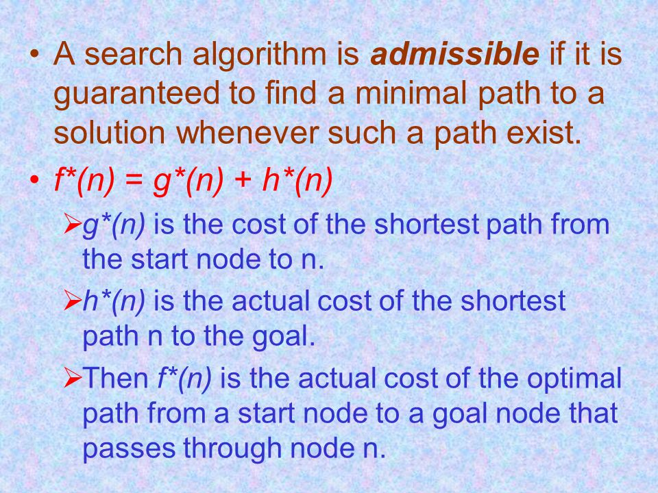 A search algorithm is admissible if it is guaranteed to find a minimal path to a solution whenever such a path exist.