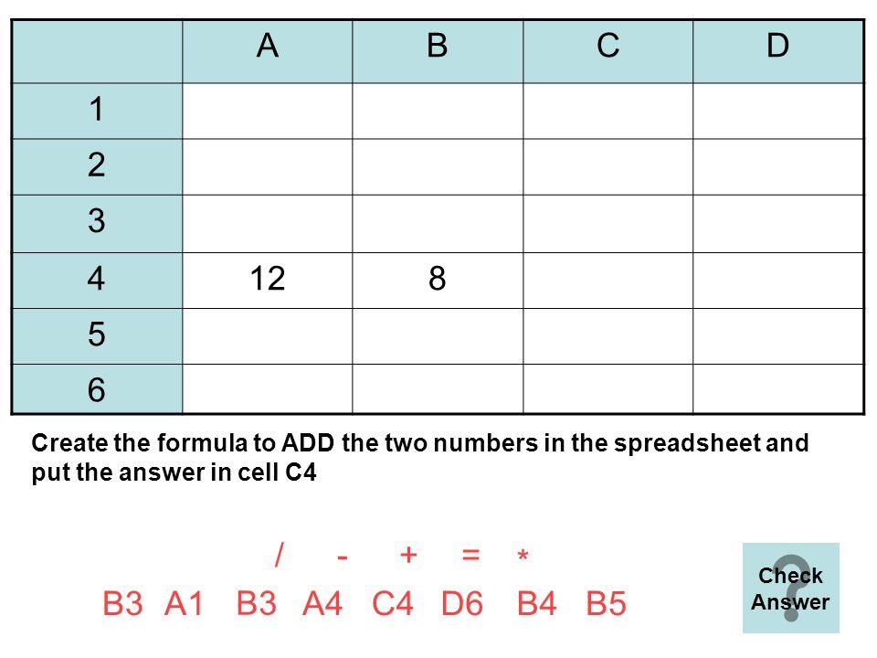 Quiz on Formulae Start