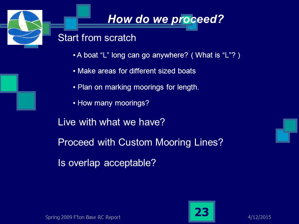 4/12/2015Spring 2009 F'ton Base RC Report 23 How do we proceed.