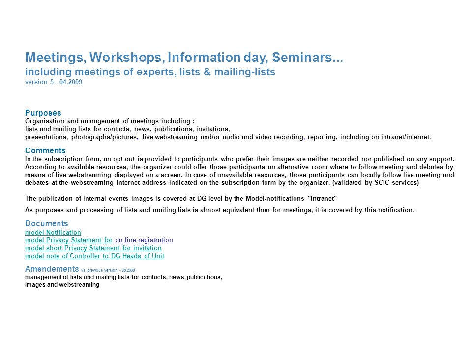 Meetings, Workshops, Information day, Seminars...