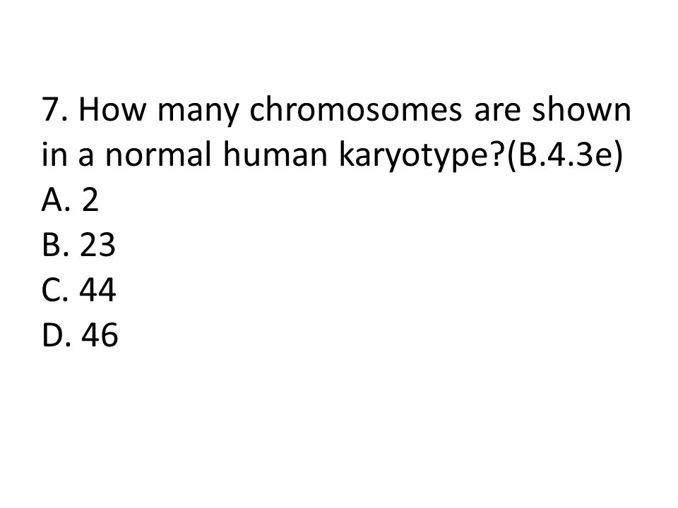 7. How many chromosomes are shown in a normal human karyotype?(B.4.3e) A. 2 B. 23 C. 44 D. 46