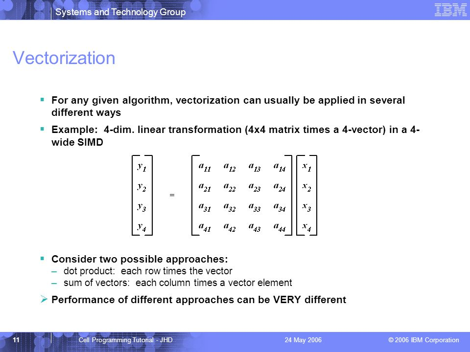Systems and Technology Group © 2006 IBM Corporation 11Cell Programming Tutorial - JHD24 May 2006 Vectorization  For any given algorithm, vectorization can usually be applied in several different ways  Example: 4-dim.