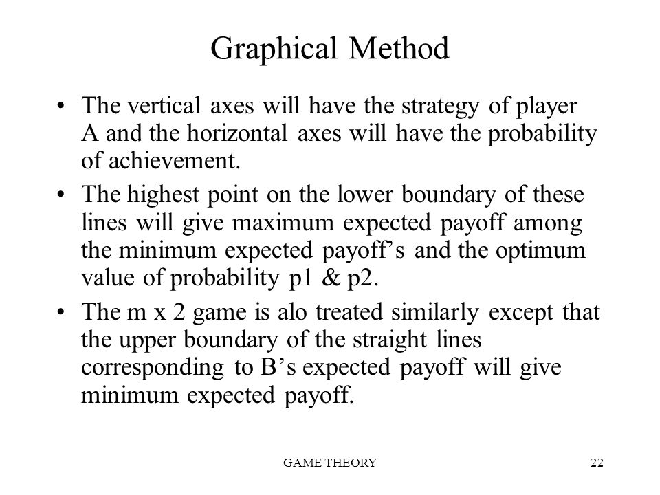 GAME THEORY22 Graphical Method The vertical axes will have the strategy of player A and the horizontal axes will have the probability of achievement.