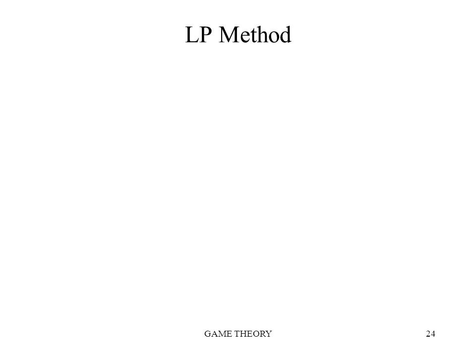 GAME THEORY24 LP Method