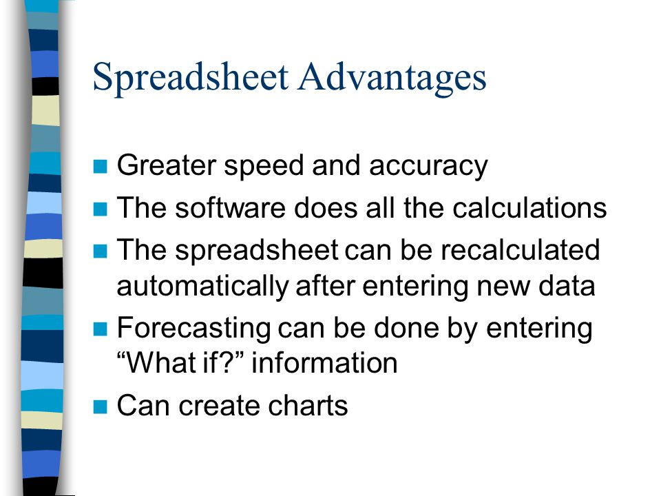 Spreadsheet Advantages Greater speed and accuracy The software does all the calculations The spreadsheet can be recalculated automatically after entering new data Forecasting can be done by entering What if? information Can create charts