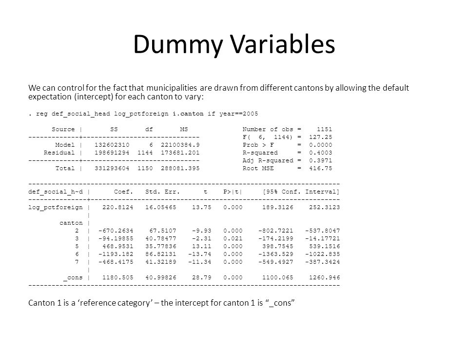 Dummy Variables We can control for the fact that municipalities are drawn from different cantons by allowing the default expectation (intercept) for e
