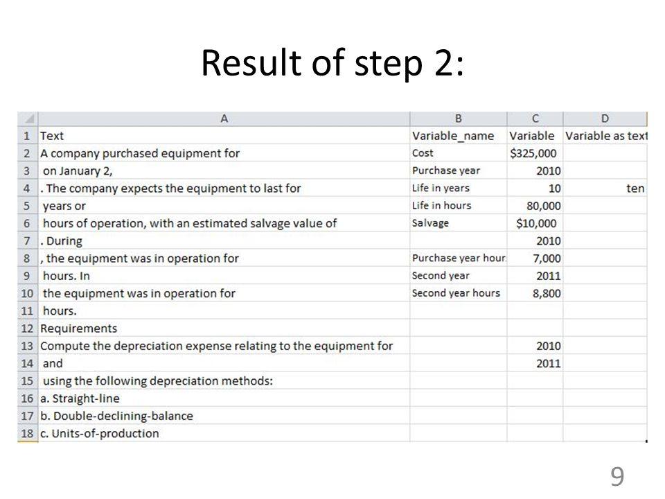 Result of step 2: 9
