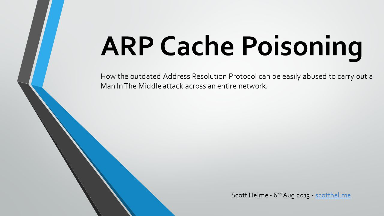 ARP Cache Poisoning How the outdated Address Resolution Protocol can be easily abused to carry out a Man In The Middle attack across an entire network.