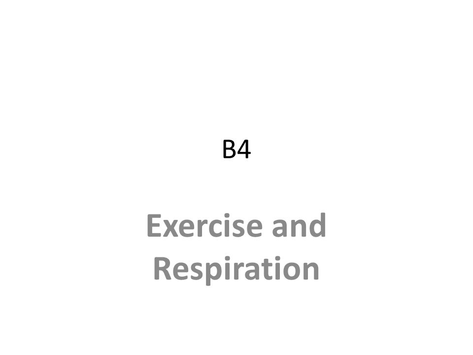 B4 Exercise and Respiration