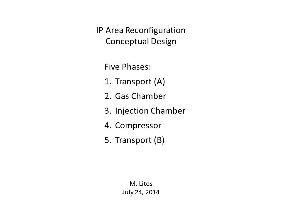 IP Area Reconfiguration Conceptual Design Five Phases: 1.Transport (A) 2.Gas Chamber 3.Injection Chamber 4.Compressor 5.Transport (B) M.