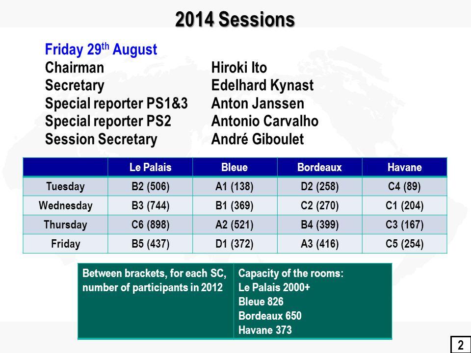 2 2014 Sessions Le PalaisBleueBordeauxHavane TuesdayB2 (506)A1 (138)D2 (258)C4 (89) WednesdayB3 (744)B1 (369)C2 (270)C1 (204) ThursdayC6 (898)A2 (521)