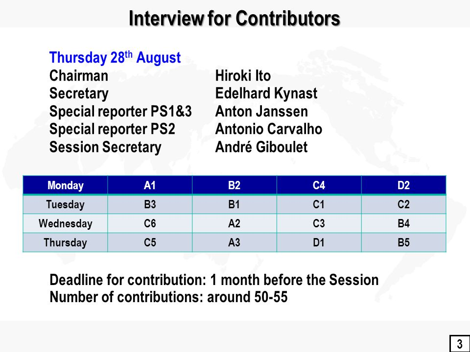 3 Interview for Contributors MondayA1B2C4D2 TuesdayB3B1C1C2 WednesdayC6A2C3B4 ThursdayC5A3D1B5 Deadline for contribution: 1 month before the Session Number of contributions: around 50-55 Thursday 28 th August Chairman Hiroki Ito Secretary Edelhard Kynast Special reporter PS1&3Anton Janssen Special reporter PS2 Antonio Carvalho Session SecretaryAndré Giboulet