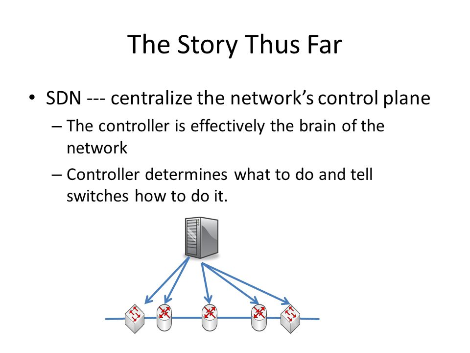 The Story Thus Far SDN --- centralize the network's control plane – The controller is effectively the brain of the network – Controller determines wha