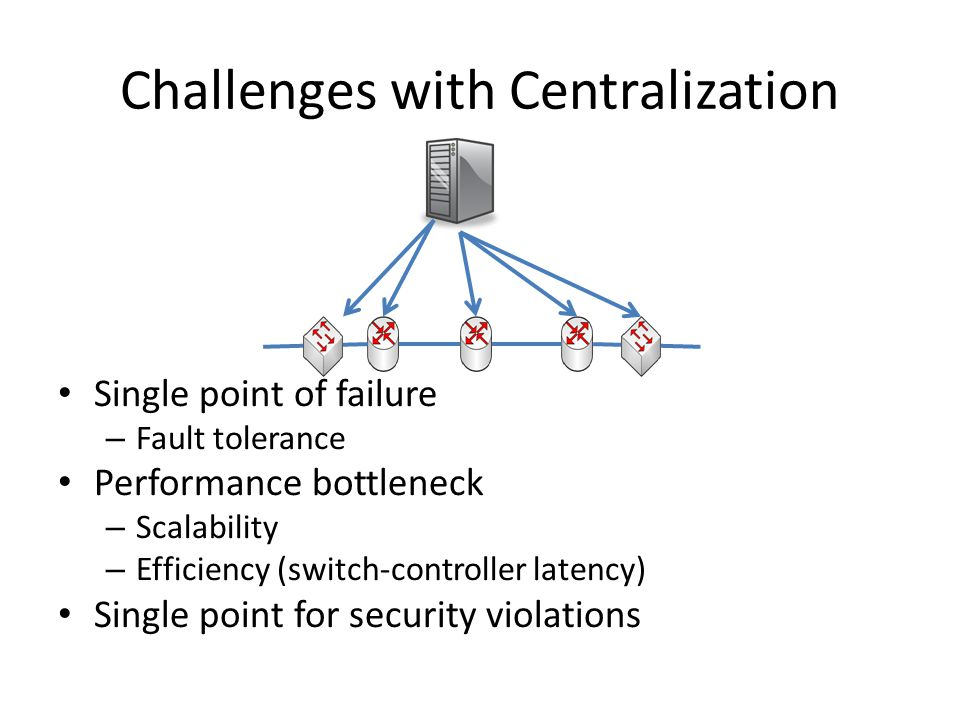 Summary Centralization provide simplicity at the cost of reliability and scalability Replication can improve reliability and scalability For Reliability, Paxos is an option For Scalability, conqueror and divide – Partition the applications Kandoo: Local apps and global apps – Partition the network Onix: each controller controls a subset of switches (Domain)