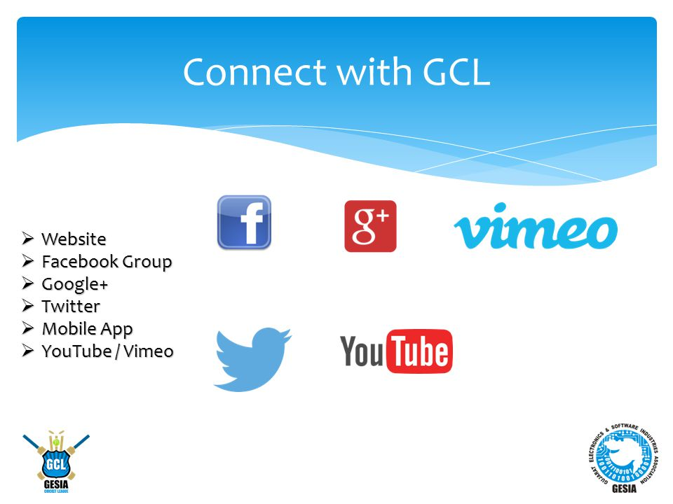 Connect with GCL  Website  Facebook Group  Google+  Twitter  Mobile App  YouTube / Vimeo