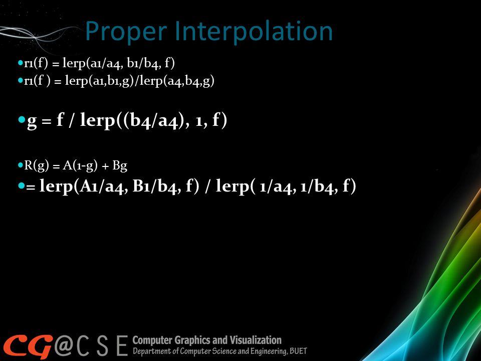 Proper Interpolation r1(f) = lerp(a1/a4, b1/b4, f) r1(f ) = lerp(a1,b1,g)/lerp(a4,b4,g) g = f / lerp((b4/a4), 1, f) R(g) = A(1-g) + Bg = lerp(A1/a4, B1/b4, f) / lerp( 1/a4, 1/b4, f)