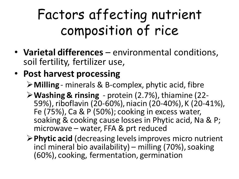 Factors affecting nutrient composition of rice Varietal differences – environmental conditions, soil fertility, fertilizer use, Post harvest processin
