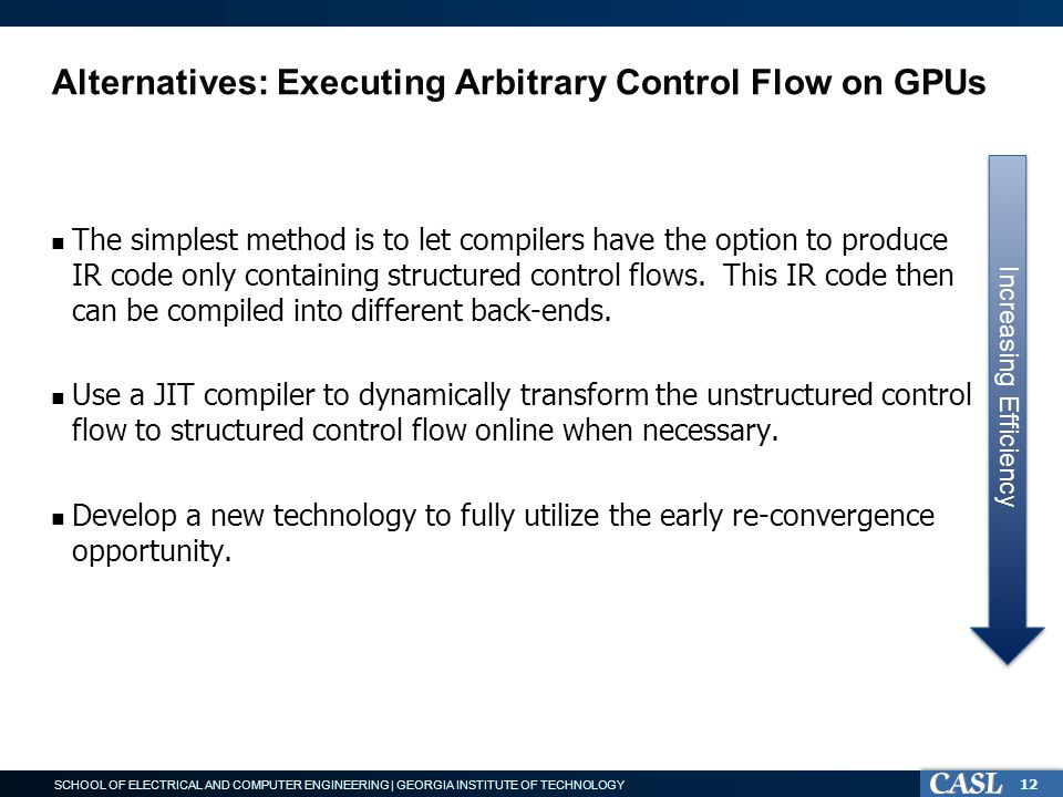 SCHOOL OF ELECTRICAL AND COMPUTER ENGINEERING | GEORGIA INSTITUTE OF TECHNOLOGY Alternatives: Executing Arbitrary Control Flow on GPUs The simplest method is to let compilers have the option to produce IR code only containing structured control flows.