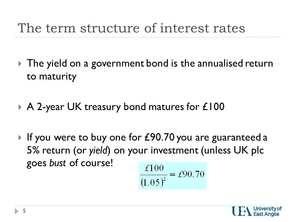 The term structure of interest rates  The yield on a government bond is the annualised return to maturity  A 2-year UK treasury bond matures for £100  If you were to buy one for £90.70 you are guaranteed a 5% return (or yield) on your investment (unless UK plc goes bust of course.