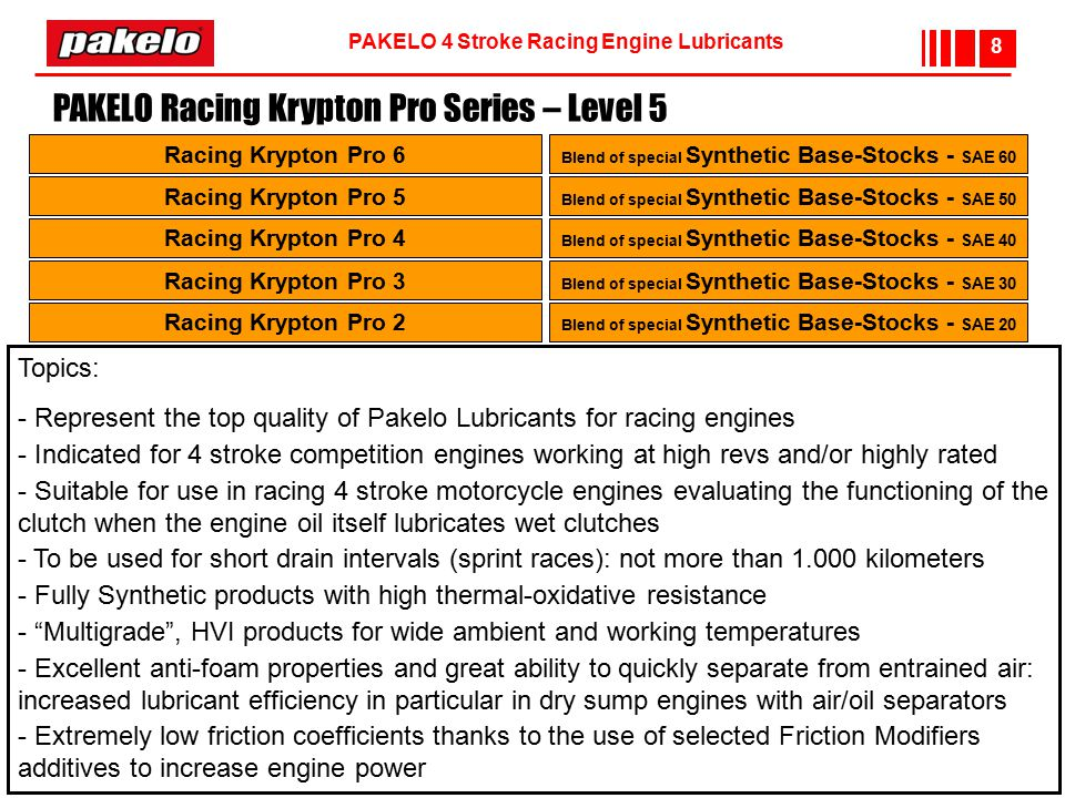 PAKELO 4 Stroke Racing Engine Lubricants 8 Racing Krypton Pro 6 Racing Krypton Pro 5 Racing Krypton Pro 4 Blend of special Synthetic Base-Stocks - SAE 60 Blend of special Synthetic Base-Stocks - SAE 50 Blend of special Synthetic Base-Stocks - SAE 40 Racing Krypton Pro 3 Racing Krypton Pro 2 Blend of special Synthetic Base-Stocks - SAE 30 Blend of special Synthetic Base-Stocks - SAE 20 PAKELO Racing Krypton Pro Series – Level 5 Topics: - Represent the top quality of Pakelo Lubricants for racing engines - Indicated for 4 stroke competition engines working at high revs and/or highly rated - Suitable for use in racing 4 stroke motorcycle engines evaluating the functioning of the clutch when the engine oil itself lubricates wet clutches - To be used for short drain intervals (sprint races): not more than 1.000 kilometers - Fully Synthetic products with high thermal-oxidative resistance - Multigrade , HVI products for wide ambient and working temperatures - Excellent anti-foam properties and great ability to quickly separate from entrained air: increased lubricant efficiency in particular in dry sump engines with air/oil separators - Extremely low friction coefficients thanks to the use of selected Friction Modifiers additives to increase engine power