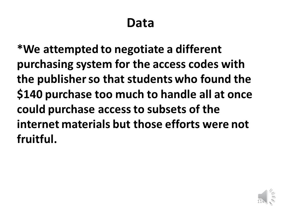 Data One confounding factor is that, in a very real sense, many of the students who did not complete their modules successfully never really got off the ground because they only went as far as a free seventeen-day access code permitted.