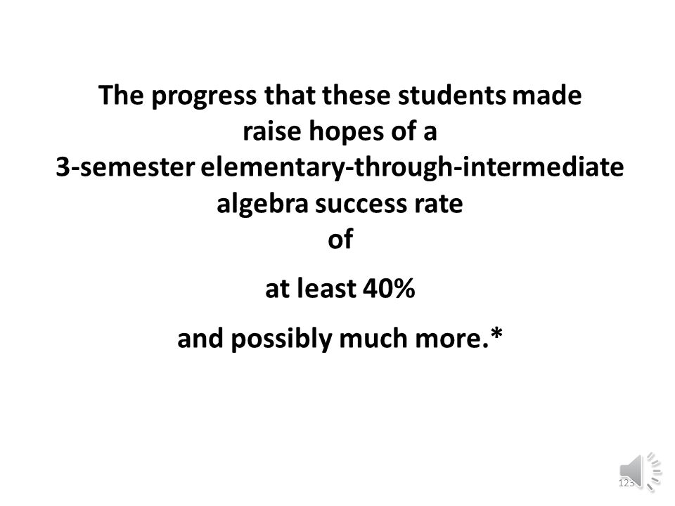 122 Across all modules the average success rate for the Spring 2013 cohort is 66% counting W's and 86% not counting W's.