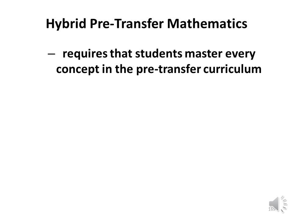 Hybrid Pre-Transfer Mathematics – rewards maturity and self-discipline 168
